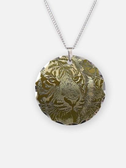 metal art tiger golden Necklace