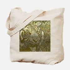 metal art tiger golden Tote Bag