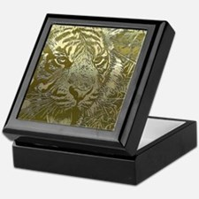 metal art tiger golden Keepsake Box