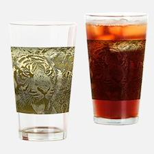 metal art tiger golden Drinking Glass