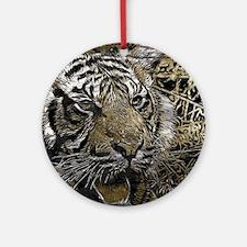 metal art tiger Ornament (Round)
