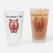 Custom Pink Pig Cartoon Drinking Glass