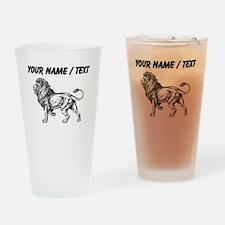 Custom Lion Sketch Drinking Glass
