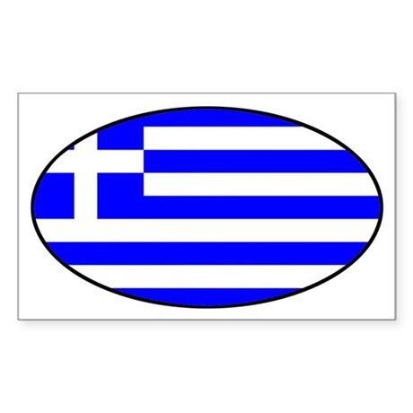 Greek Flag Oval Sticker