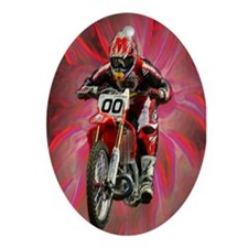Dirt biker blasting thru red Oval Ornament