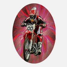 Dirt biker blasting thru red Oval Ornament