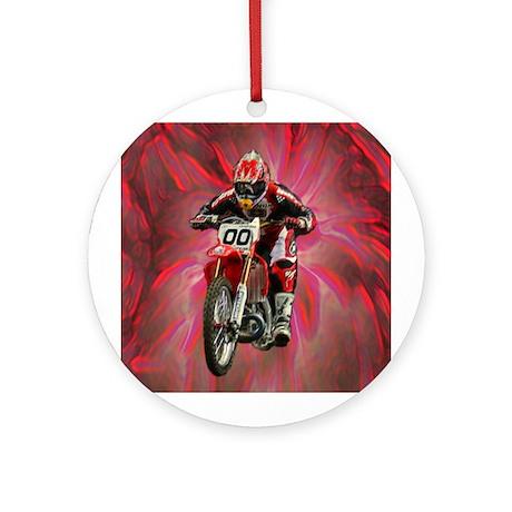 Dirt biker blasting thru red Ornament (Round)