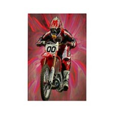 Dirt biker blasting thru red Rectangle Magnet