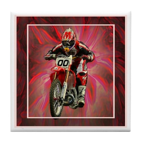 Dirt biker blasting thru red Tile Coaster