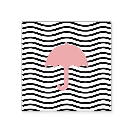 "Cute Pink Umbrella Square Sticker 3"" x 3"""