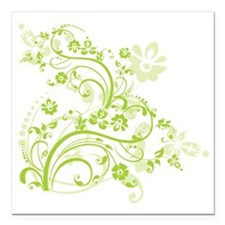 "Green floral swirl desig Square Car Magnet 3"" x 3"""