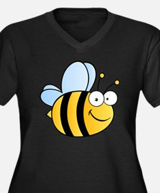 Bee Happy Women's Plus Size V-Neck Dark T-Shirt
