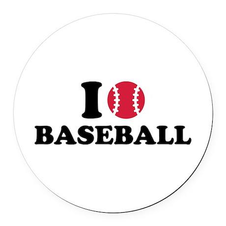 I love Baseball Round Car Magnet