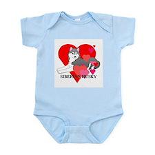 Gray Siberian Husky Infant Bodysuit