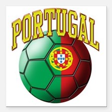 "Flag of Portugal Soccer  Square Car Magnet 3"" x 3"""