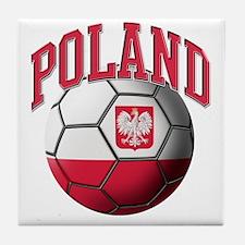 Flag of Poland Soccer Ball Tile Coaster