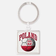 Flag of Poland Soccer Ball Square Keychain