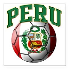 "Flag of Peru Soccer Ball Square Car Magnet 3"" x 3"""