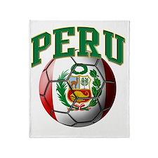 Flag of Peru Soccer Ball Throw Blanket