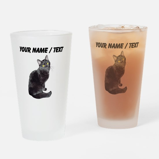 Custom Black Cat Drinking Glass