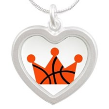 Basketball crown ball Silver Heart Necklace