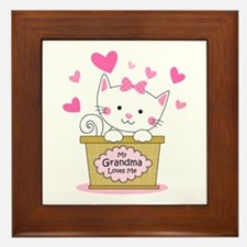 Kitty Grandma Loves Me Framed Tile