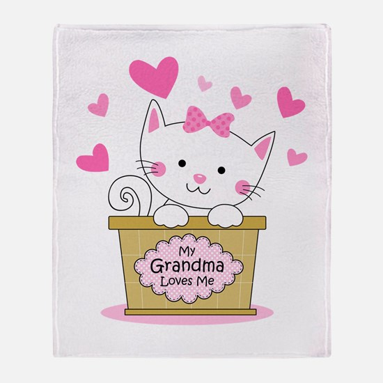 Kitty Grandma Loves Me Throw Blanket