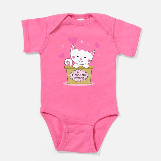 Kitty Grandma Loves Me Baby Bodysuit