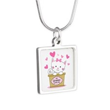 Kitty Grammy Loves Me Silver Square Necklace