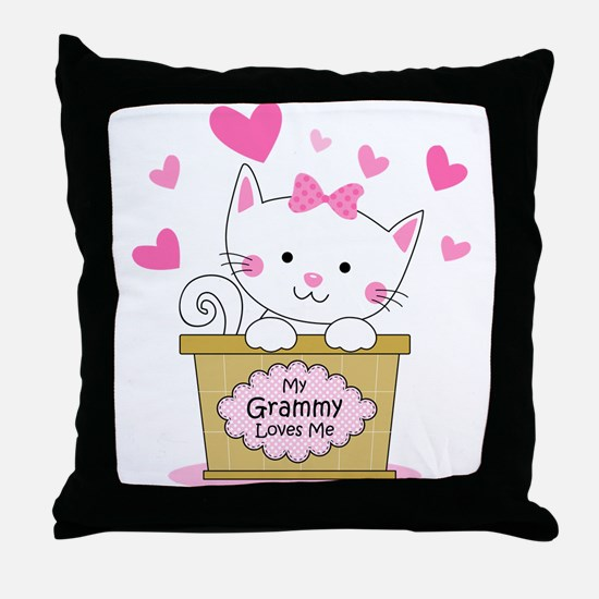 Kitty Grammy Loves Me Throw Pillow