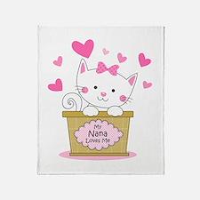 Kitty Nana Loves Me Throw Blanket