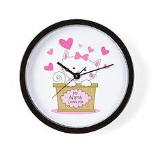 Kitty Nana Loves Me Wall Clock