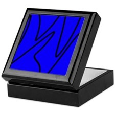 Black On Blue Abstract Waves Keepsake Box