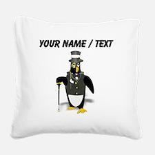 Custom Penguin In Tuxedo Square Canvas Pillow