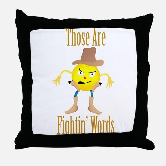 Cowboy Emoticon Throw Pillow