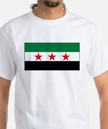 Syrian National Coalition Flag White T-Shirt