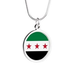 Syrian National Coalition Fl Silver Round Necklace