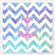 "Pink Glitter Nautical An Square Car Magnet 3"" x 3"""