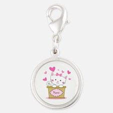 Personalized Kitty Love Silver Round Charm