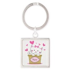 Personalized Kitty Love Square Keychain