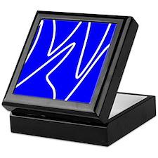 White On Blue Abstract Waves Keepsake Box