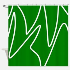 White On Green Abstract Waves Shower Curtain