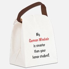 My German Wirehair is smarter... Canvas Lunch Bag