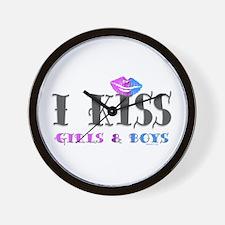 I Kiss Girls & Boys Wall Clock