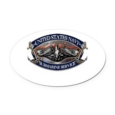 USN Sub Dolphins Iron Men Oval Car Magnet