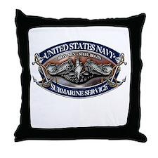 USN Sub Dolphins Iron Men Throw Pillow