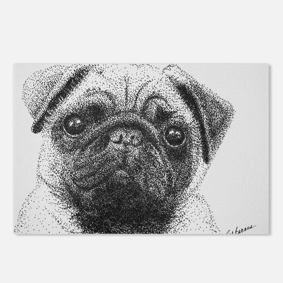 Pointillism Pug  Postcards (Package of 8)