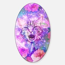 Girly Kitten Cat Romantic Floral Pi Sticker (Oval)