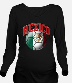 Flag of Mexico Socce Long Sleeve Maternity T-Shirt