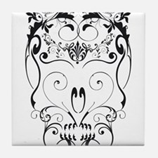 Floral ornaments skull Tile Coaster